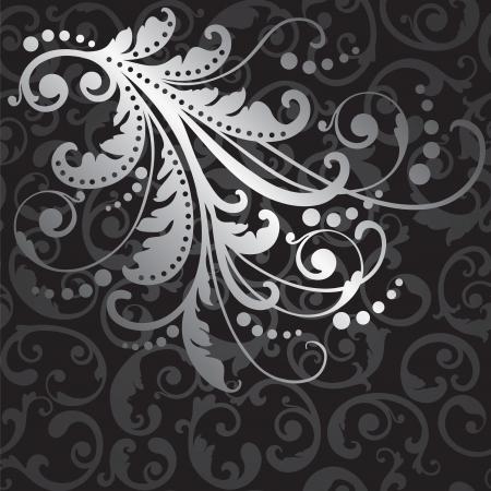 Floral zilver design element op naadloze zwarte wervelingen patroon illustratie. Stock Illustratie