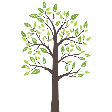 silhouete: Stylized lone tree with fresh young leaves in spring  This image is a vector illustration  Illustration