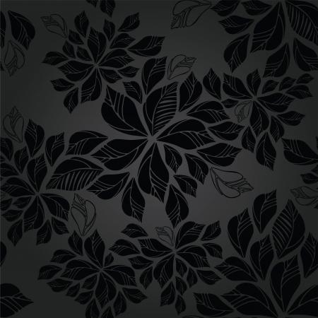 Naadloze houtskool bladerenbehang patroon Deze afbeelding is een vector illustratie