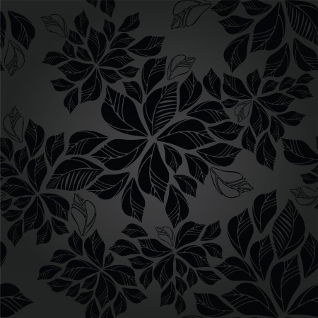 Seamless charcoal leaves wallpaper pattern  This image is a vector illustration