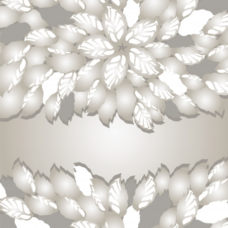 Silver flowers and leaves borders with space for text  This image is a vector illustration