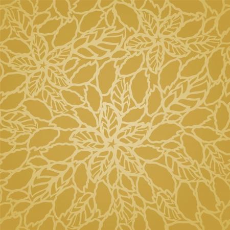 Naadloos gouden bladeren en bloemen kant behang patroon. Deze afbeelding is een vector illustratie.