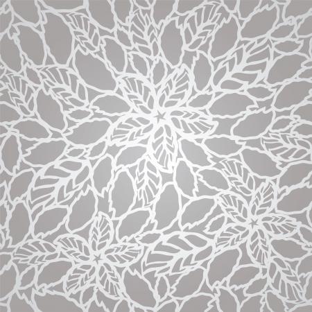 Naadloze zilveren bladeren en bloemen kant behang patroon. Deze afbeelding is een vector illustratie. Stock Illustratie