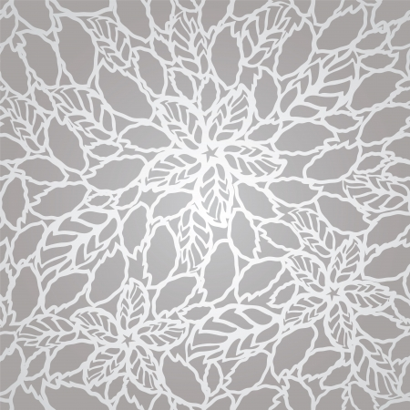 gray texture background: Seamless silver leaves and flowers lace wallpaper pattern. This image is a vector illustration.
