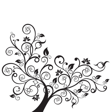 Flowers and swirls design element silhouette in black. This image is a vector illustration. Stock Vector - 19430714