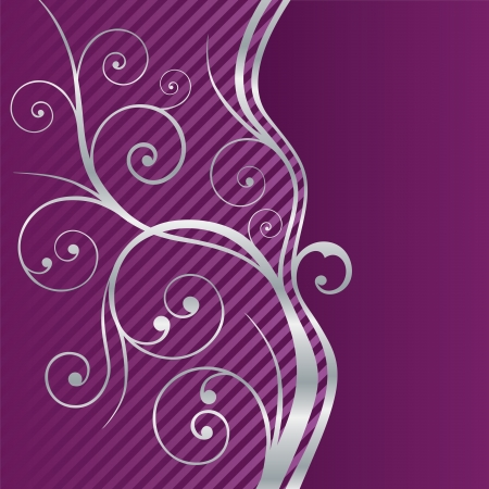 fuchsia flower: Beautiful purple and silver swirls border. This image is a vector illustration.