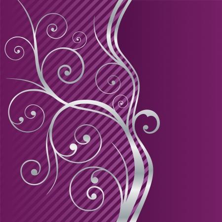flores fucsia: Púrpura y de plata hermoso de los remolinos. Esta imagen es una ilustración vectorial.