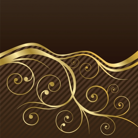 Brown and gold swirls coffee or restaurant menu cover  This image is a vector illustration