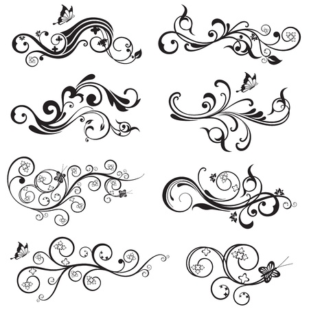 swirl: Beautiful flower and butterfly silhouettes design collection. This image is a illustration.