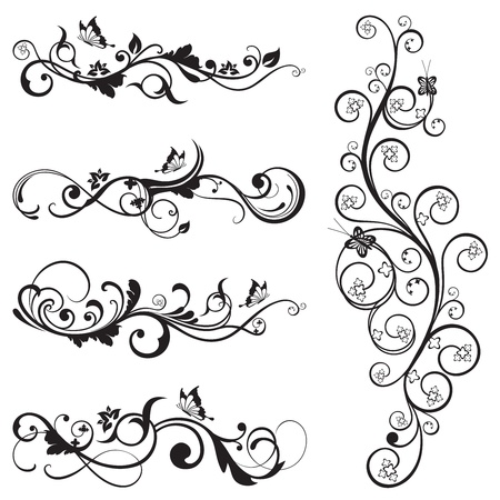 Collection of vintage floral silhouette designs with butterflies and swirls  Stock Illustratie