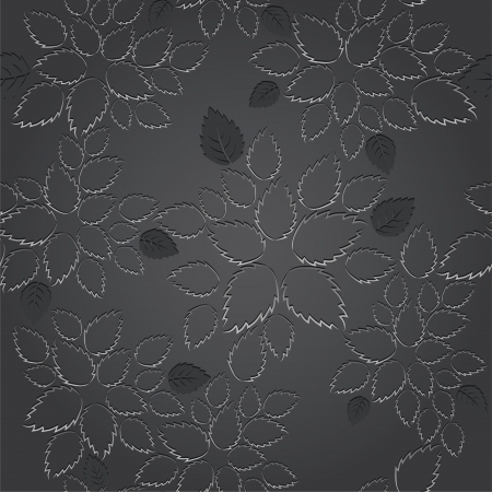 Seamless black leaves lace wallpaper pattern. This image is a vector illustration.