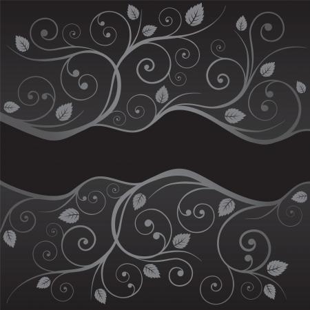 Luxe zwart en zilver bladeren en wervelingen grenzen op zwarte achtergrond