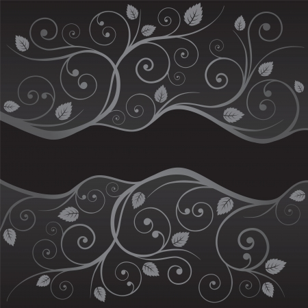 Luxury black and silver leaves and swirls borders on black background