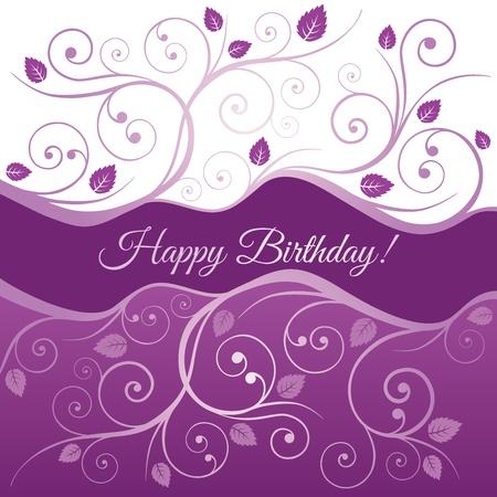 Gelukkige Verjaardag kaart met roze en paarse wervelingen en bladeren