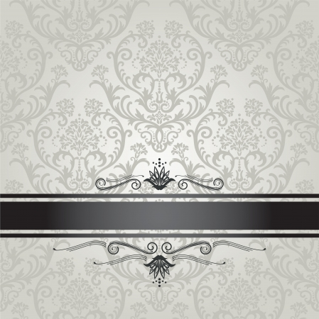 Luxury silver seamless floral wallpaper pattern book cover with black border Çizim