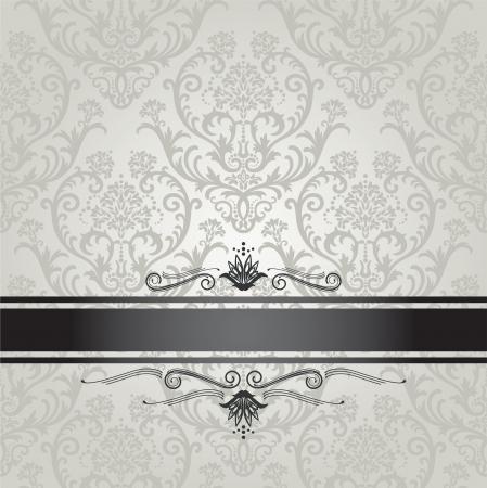 bodas de plata: Plata transparente wallpaper portada del libro estampado de flores de lujo con borde negro
