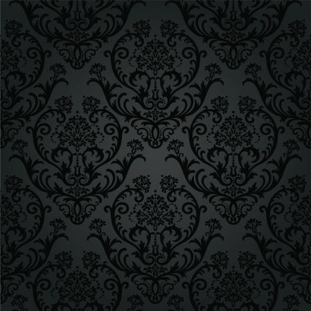 Carbón patrón de papel tapiz floral negro de lujo. Esta imagen es una ilustración vectorial.