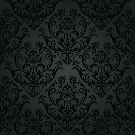 Luxury black charcoal floral wallpaper pattern. This image is a vector illustration. Vector