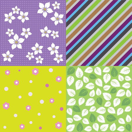 Four seamless spring background pattern designs. This image is a vector illustration. Illustration