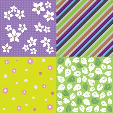 Vier naadloze voorjaar achtergrond patroon ontwerpen. Deze afbeelding is een vector illustratie. Stock Illustratie