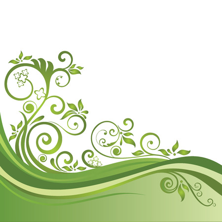 green banner: Green floral banner isolated on white. This image is a vector illustration.