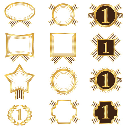 Set of golden frames. This image is a vector illustration. Illustration