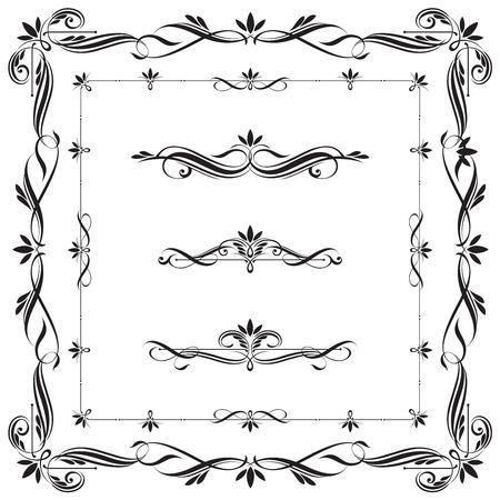 Set kalligrafische kaders en elementen. Deze afbeelding is een vectorillustratie.