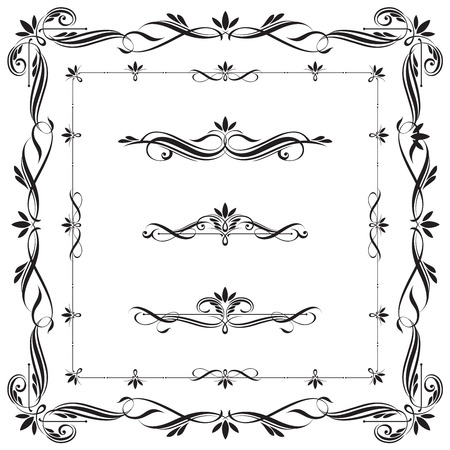 Set of Calligraphic frames and elements. This image is a vector illustration. Illustration