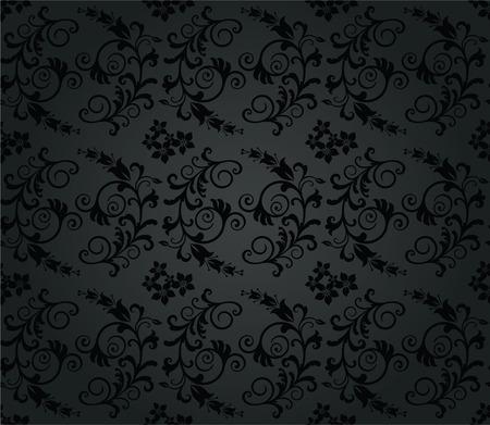 Naadloze luxe houtskool round blad behang patroon. Dit beeld is een illustratie.