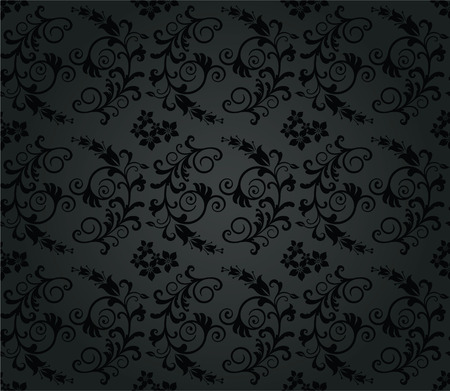 Seamless luxury charcoal round foliage wallpaper pattern. This image is a illustration.