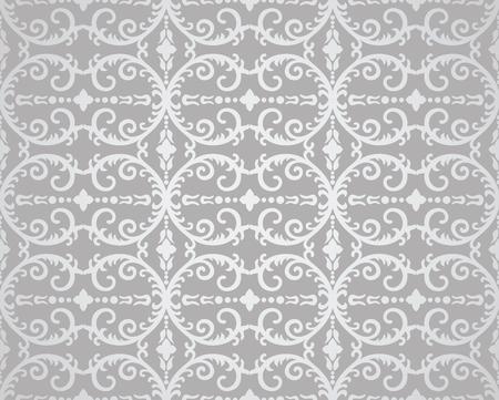 Naadloos zilveren bloemen en gebladertebehangpatroon. Deze afbeelding is een illustratie.
