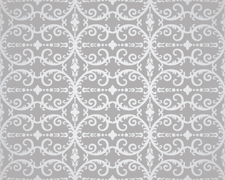 Seamless silver flowers and foliage wallpaper pattern. This image is a illustration. Illustration