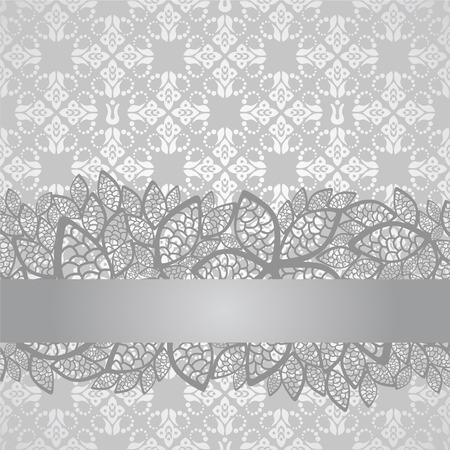 Silver kanten rand op floral zilveren behang. Dit beeld is een illustratie.