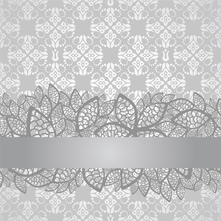 Silver lace border on floral silver wallpaper. This image is a illustration.