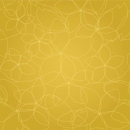 Naadloos bloemen gouden lijnenbehangpatroon. Deze afbeelding is een illustratie. Stock Illustratie