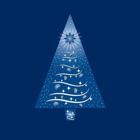 Blauwe en witte kerstboom wenskaart. Deze afbeelding is een illustratie. Stock Illustratie