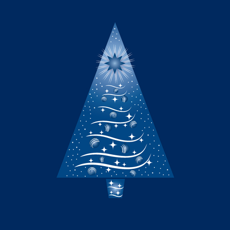 Blue and white Christmas tree greeting card. This image is a illustration.