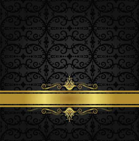 シームレスな黒花壁紙パターンと装飾的な渦とゴールドのリボン。この画像はベクトル図です。