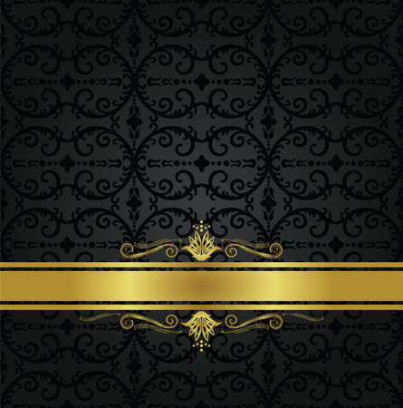 Seamless black floral wallpaper pattern and gold ribbon with decorative swirls. This image is a vector illustration. Stock Illustratie