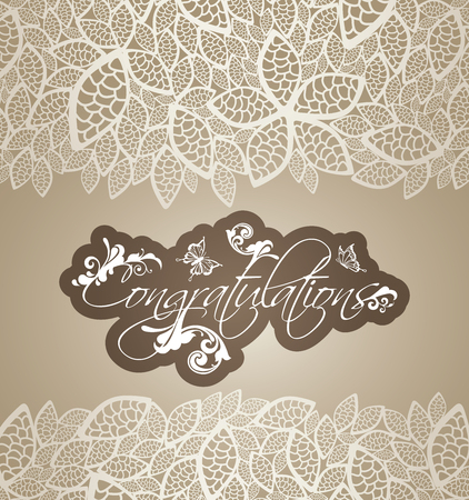 silver backgrounds: Congratulations greeting card with floral swirls and lace leaves borders. This image is a vector illustration. Illustration