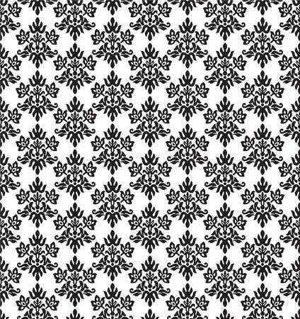 Naadloos zwart en wit, houtskool kleine florale elementen behang. Deze afbeelding is een vector illustratie.