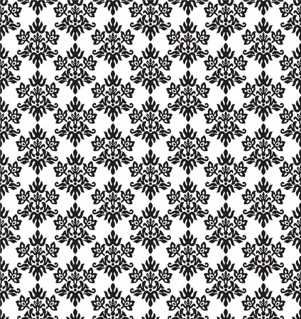 Seamless black and white, charcoal small floral elements wallpaper. This image is a vector illustration. Illustration