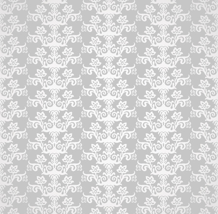 victorian wallpaper: Silver seamless victorian style floral wallpaper pattern. This image is a vector illustration.