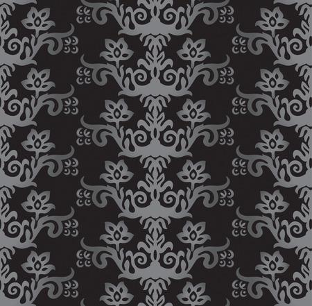 Naadloze zilver en houtskool Victoriaanse stijl bloemenbehangpatroon. Deze afbeelding is een vector illustratie.