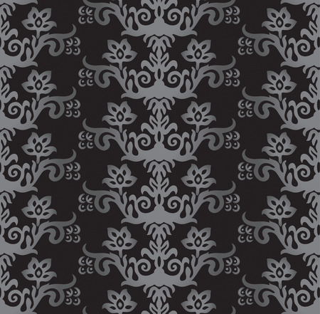 Seamless silver and charcoal victorian style floral wallpaper pattern. This image is a vector illustration. Illustration