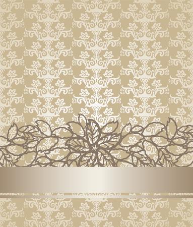 Gouden champagnekleur victorian stijlpatroon bloemenboekdekking. Deze afbeelding is een vectorillustratie.