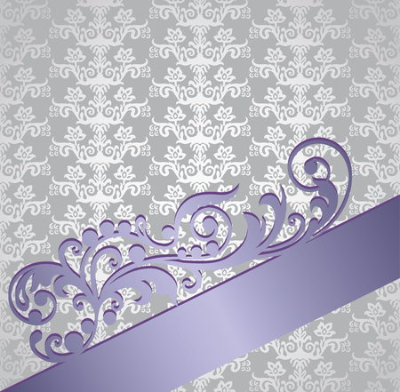 Silver and purple victorian style floral wallpaper book cover. This image is a vector illustration.