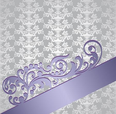 Zilveren en paarse boekethoes van Victoriaanse stijlbehang. Deze afbeelding is een vectorillustratie.