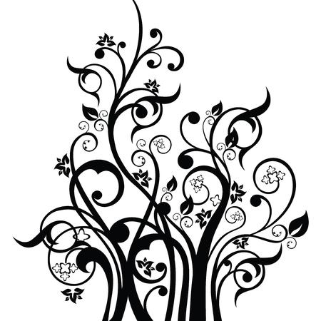 Bloemen, bladeren en wervelingen ontwerp element silhouet in het zwart. Deze afbeelding is een vectorillustratie.