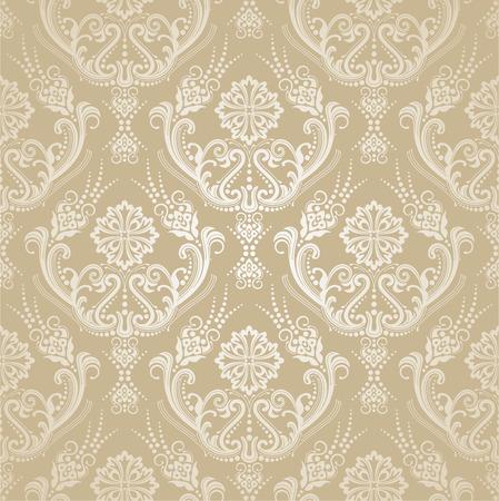 Naadloos gouden bloemen victorian behang van het damastbehang. Deze afbeelding is een vectorillustratie. Stock Illustratie